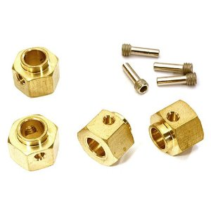 12mm Hex Wheel (4) Hub Brass 8mm Thick for Traxxas TRX-4 Scale & Trail Crawler