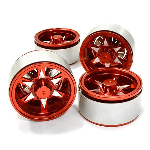 1.9 Size Billet Machined Alloy 6V Spoke Wheel(4)High Mass Type for Scale Crawler C26614RED